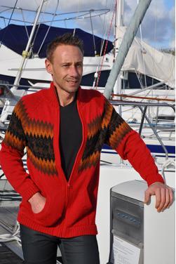Cardigan rouge en laine d'alpaga