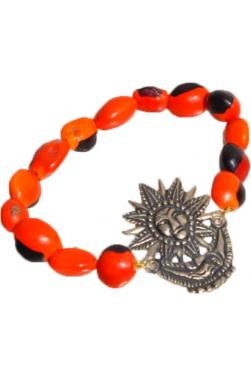 Bracelet en graines huayruro et son médaillon soleil et lune
