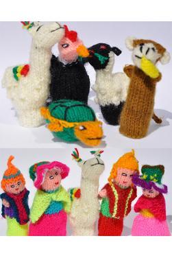 Marionnettes à doigts - Lot de 10 marionnettes histoire d'hommes et des animaux