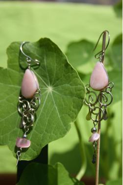 Boucles d'oreilles Qosqo - Quartz rose.