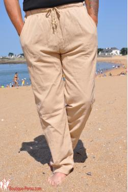 Pantalon coton naturel beige
