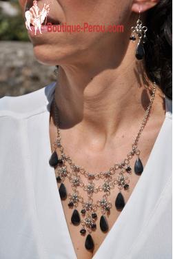 Parure collier et boucles d'oreilles en onyx