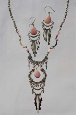 Parure Inti collier + boucles d'oreilles quartz rose