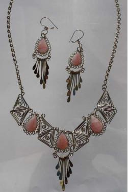 Parure Condor bijoux ethnique en quartz rose