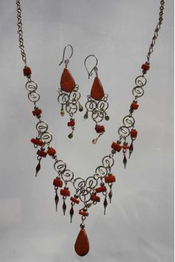 Parure bijoux Qosqo pierre jaspe rouge