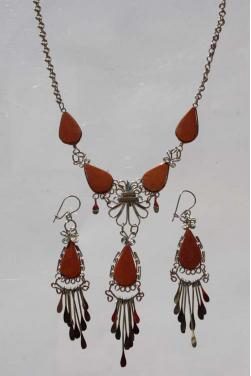Parure bijoux Ticka pierre jaspe rouge