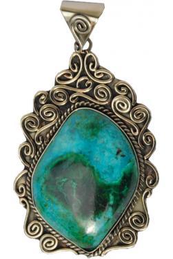Pendentif en turquoise ovale