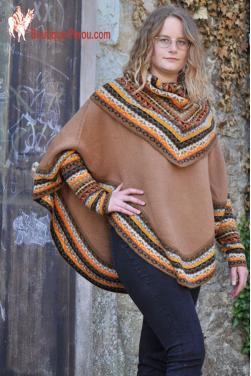 Poncho femme couleurs d'automne.