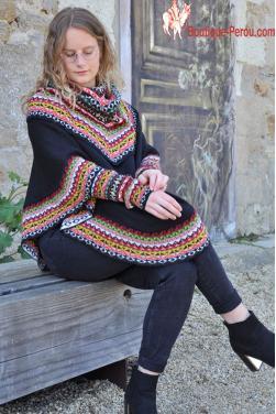 Pull poncho noir pour femme en laine d'alpaga