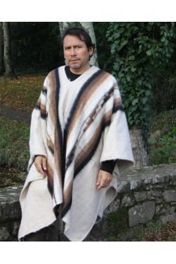 Poncho péruvien alpaga white.