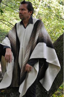 Poncho alpaga blanc