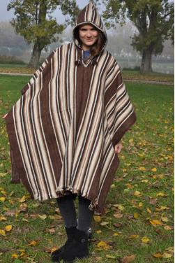 Poncho femme marron chocolat