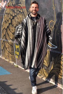 Poncho Chaman homme laine d'alpaga