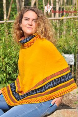 Poncho de Cuzco jaune soleil des Andes.