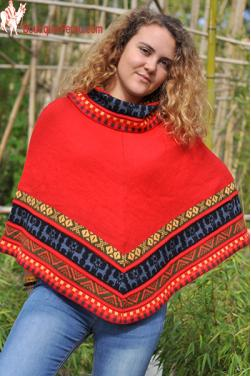 Poncho femme court Tawntinsuyo rouge indien