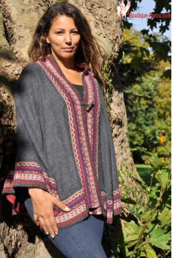 Poncho court gris anthracite