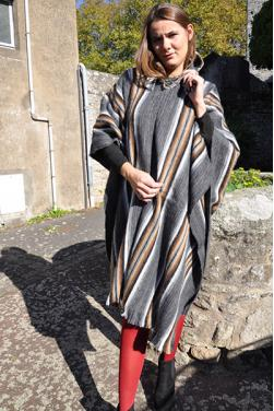 Poncho femme gris anthracite
