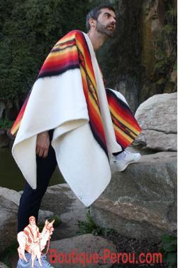 Poncho péruvien alpaga blanc Ausangate