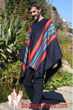 Poncho homme laine d'alpaga.