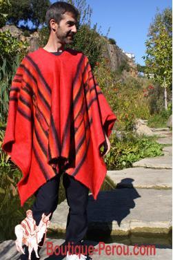 Poncho des Andes rouge indien tissé en laine alpaga