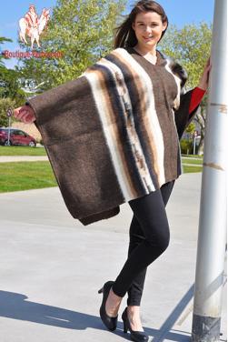 Poncho femme en laine d'alpaga