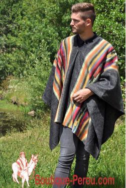 Poncho Chaman homme laine d'alpaga. C'est une pièce unique