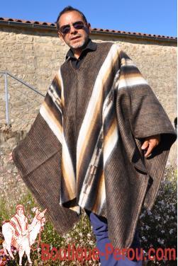 Poncho des Andes tissé en laine alpaga