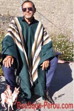 Poncho péruvien vert en laine d'alpaga
