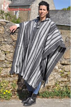 Poncho femme gris