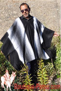 Poncho péruvien alpaga noir