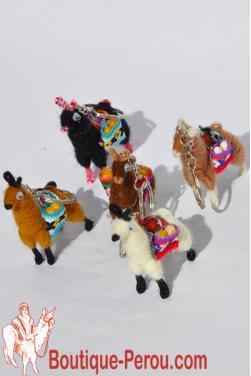 Cinq porte-clés lamas péruviens, tout fait main