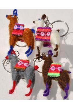Quatre porte-clés lamas