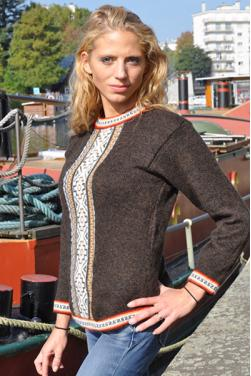 Pull-over llamitas marron indien