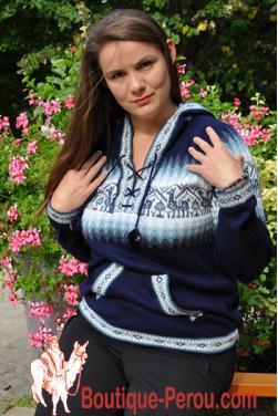 Pull peruvien en laine d'alpaga pour femme