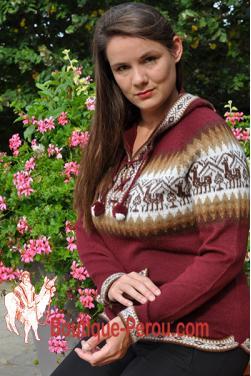 Pull couleur bordeaux pour femme en laine d'alpaga