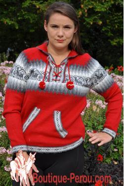 Pull  en laine d'alpaga de couleur rouge