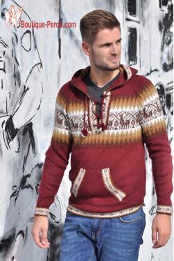 Pull rouge bordeaux en laine alpaga