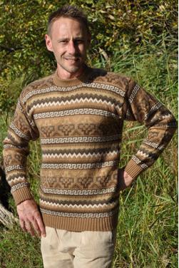 Pull beige marron en laine d'alpaga