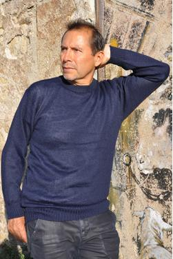 Pull homme bleu marine en laine bébé alpaga