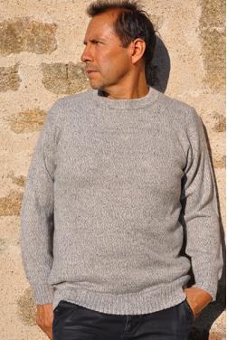 Pull gris en laine bébé alpaga