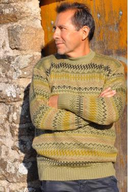 Pull homme en laine d'alpaga caki