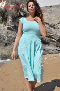 Robe longue turquoise