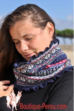 Écharpe foulard femme rond anneau ovale tube.