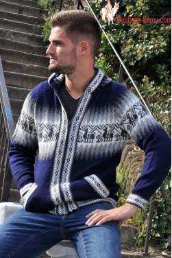 Veste a capuche en laine d'alpaga