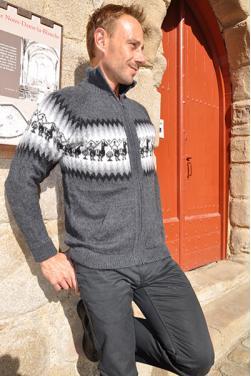 Cardigan gris anthracite en laine d'alpaga