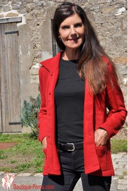 Gilet maille en laine d'alpaga rojo indio
