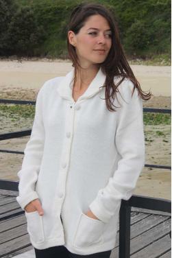 Gilet maille en laine d'alpaga blanc