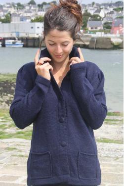 Gilet maille en laine d'alpaga bleu marine
