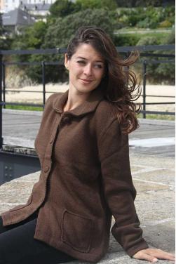 Gilet maille en laine d'alpaga marron
