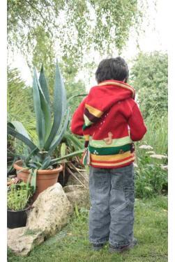 Gilet peruvien enfant rouge des Andes